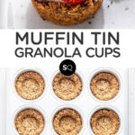 granola cups with fruit and yogurt text overlay