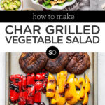 grilled vegetable salad text overlay collage