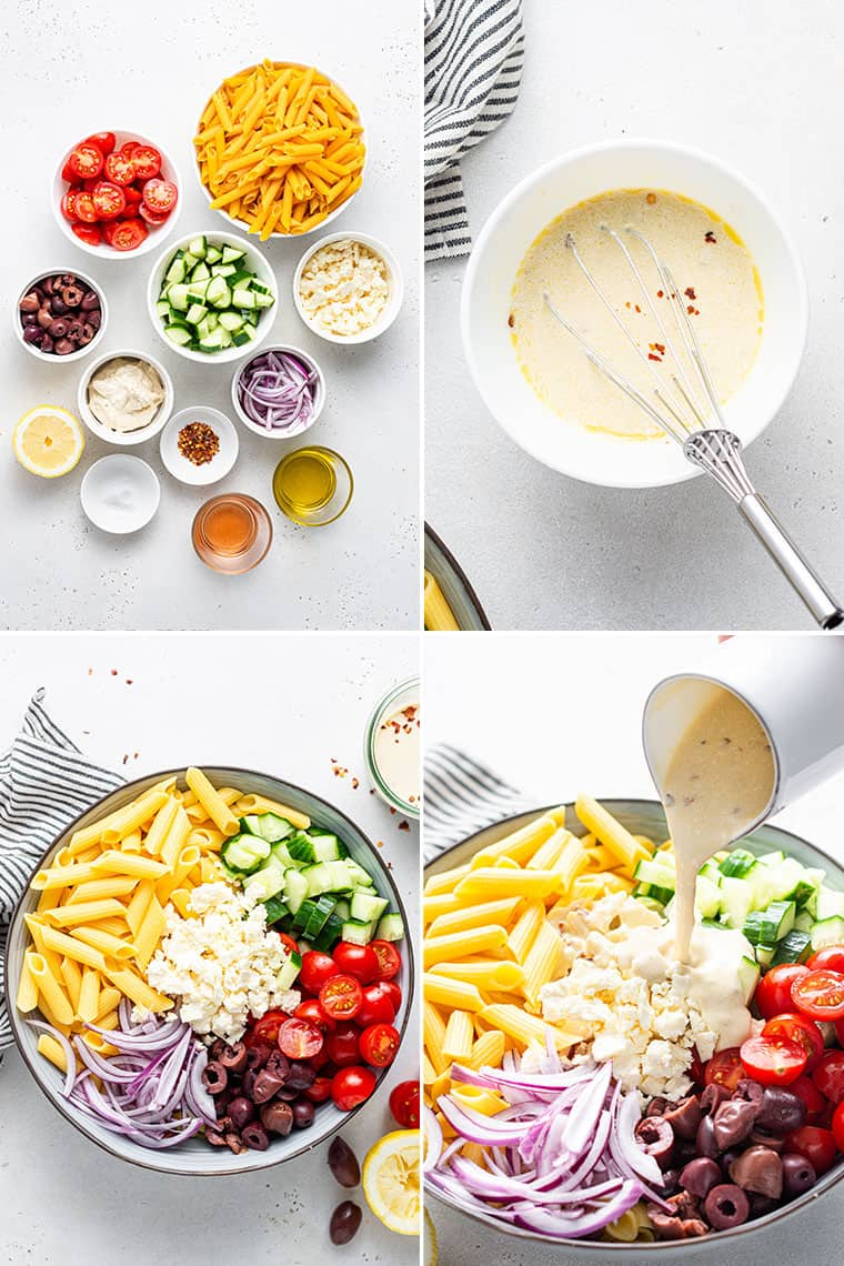 college of the steps and ingredients to make healthy pasta salad