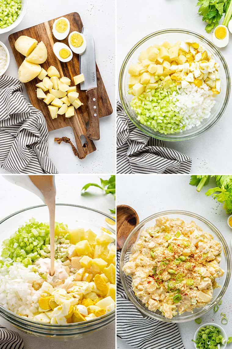 collage of the steps to make healthy potato salad with eggs