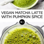 Pumpkin Spice Matcha Latte text overlay collage