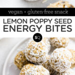 Lemon Poppy Seed Energy Bites with coconut text overlay collage