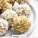 Lemon Poppy Seed Energy Bites with coconut text overlay