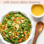 Moroccan Carrot and Quinoa Salad with Spicy Tahini Dressing text overlay