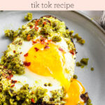 pesto eggs with avocado toast text overlay