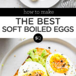 soft boiled eggs text overlay collage