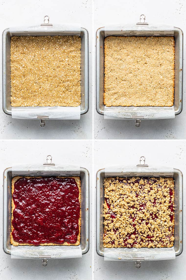 collage of the steps to layer oatmeal and strawberry jam in a baking dish
