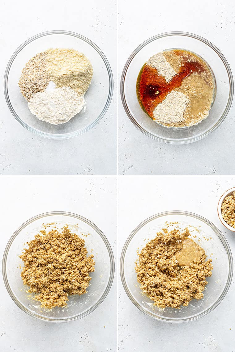 collage of a mixing bowl with the ingredients for oat and strawberry cookies