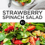 Strawberry Spinach Salad with Toasted Quinoa text overlay collage
