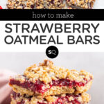 strawberry oatmeal bars text overlay collage