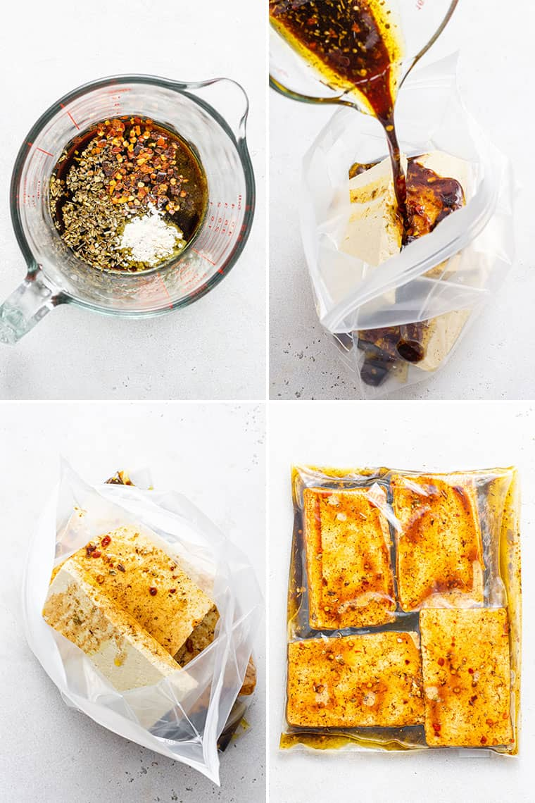 collage of the steps to marinate grilled tofu