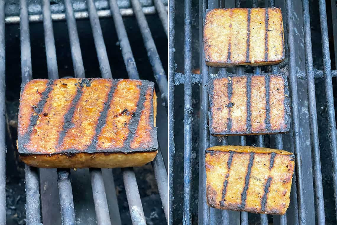 collage of tofu steaks on the grill