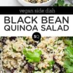 black bean quinoa salad text overlay collage