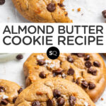 chocolate chip almond butter cookies collage text overlay
