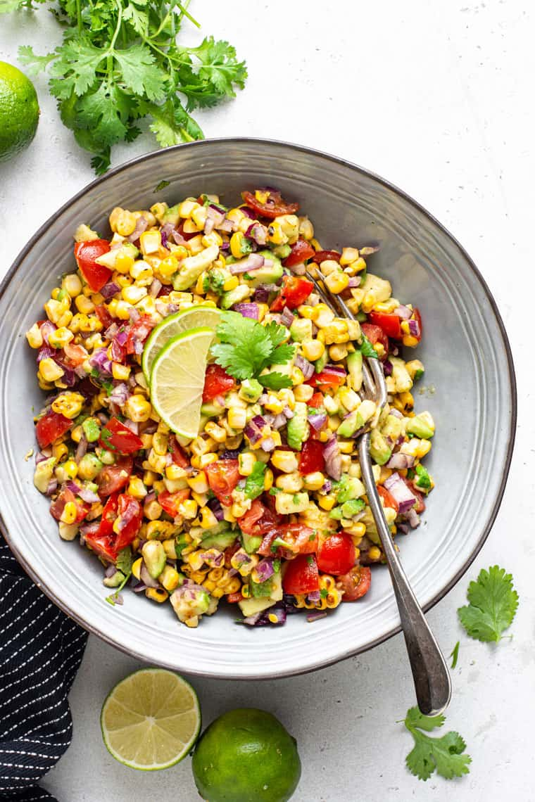 bowl of grilled corn and avocado salsa