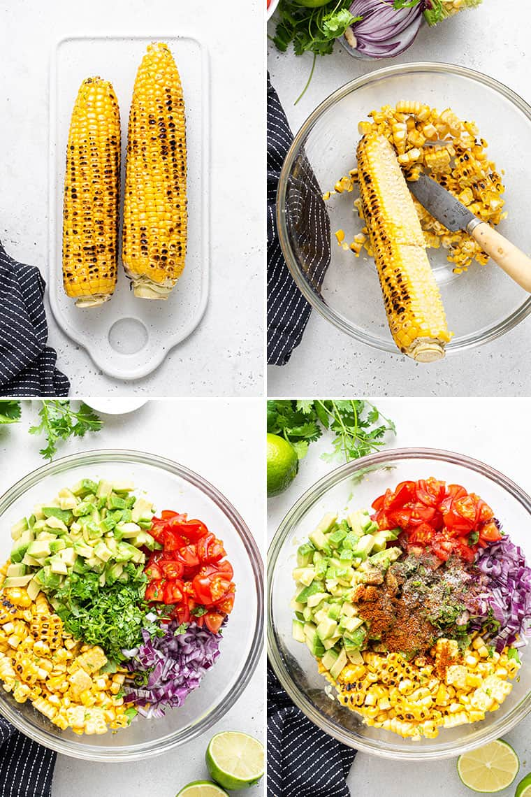 collage of the steps to make salsa with grilled corn, avocado and tomatoes