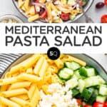tomato and cucumber hummus pasta salad text overlay collage