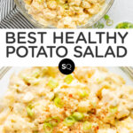 potato salad text overlay collage