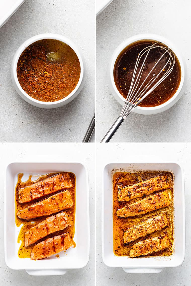 collage of the marinade and sauce for baked salmon tacos