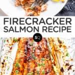 firecracker salmon text overlay collage