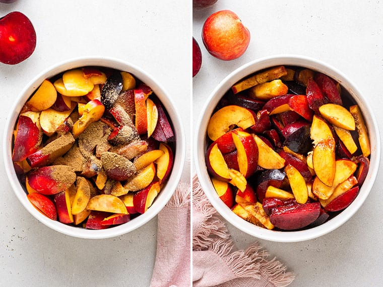 collage of peaches and nectarines with cinnamon in a baking dish