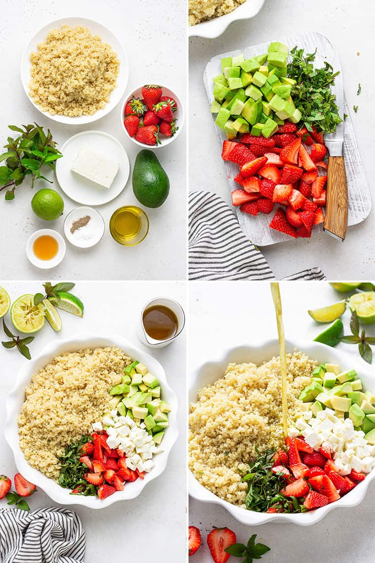 collage of the steps to make healthy strawberry quinoa salad with lime, avocado and mint
