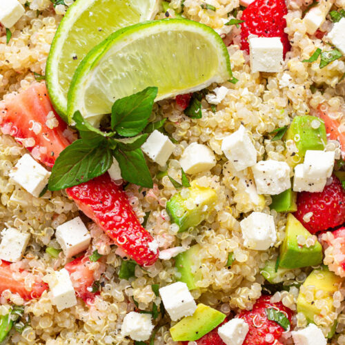 quinoa, strawberry and avocado salad with lime and herbs