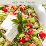 strawberry quinoa salad text overlay
