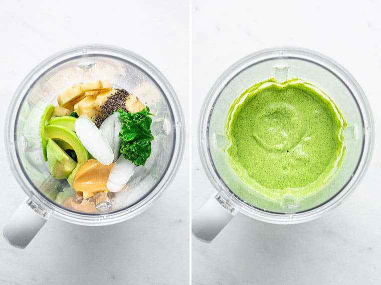 collage of two blenders with the ingredients for the ultimate green smoothie bowl