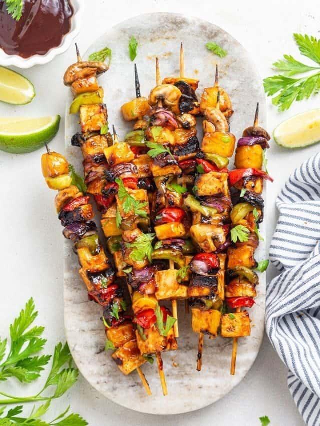 Grilled Pineapple & Tofu Kebabs