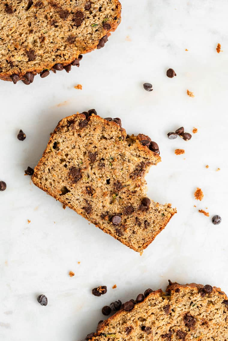 slices of zucchini bread with a bite removed