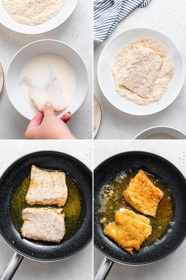 collage of the steps to bread and pan fry fish for tacos