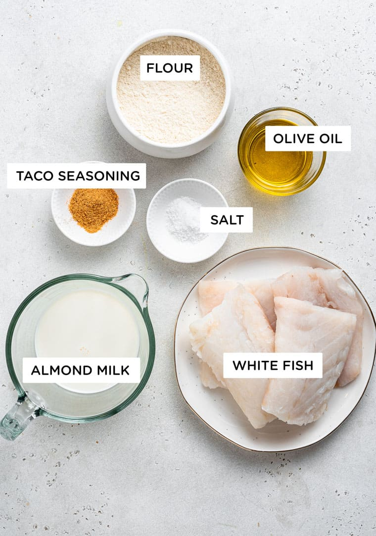 ingredients for fish tacos with white fish, almond milk and flour