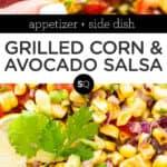 Grilled Corn & Avocado Salsa text overlay