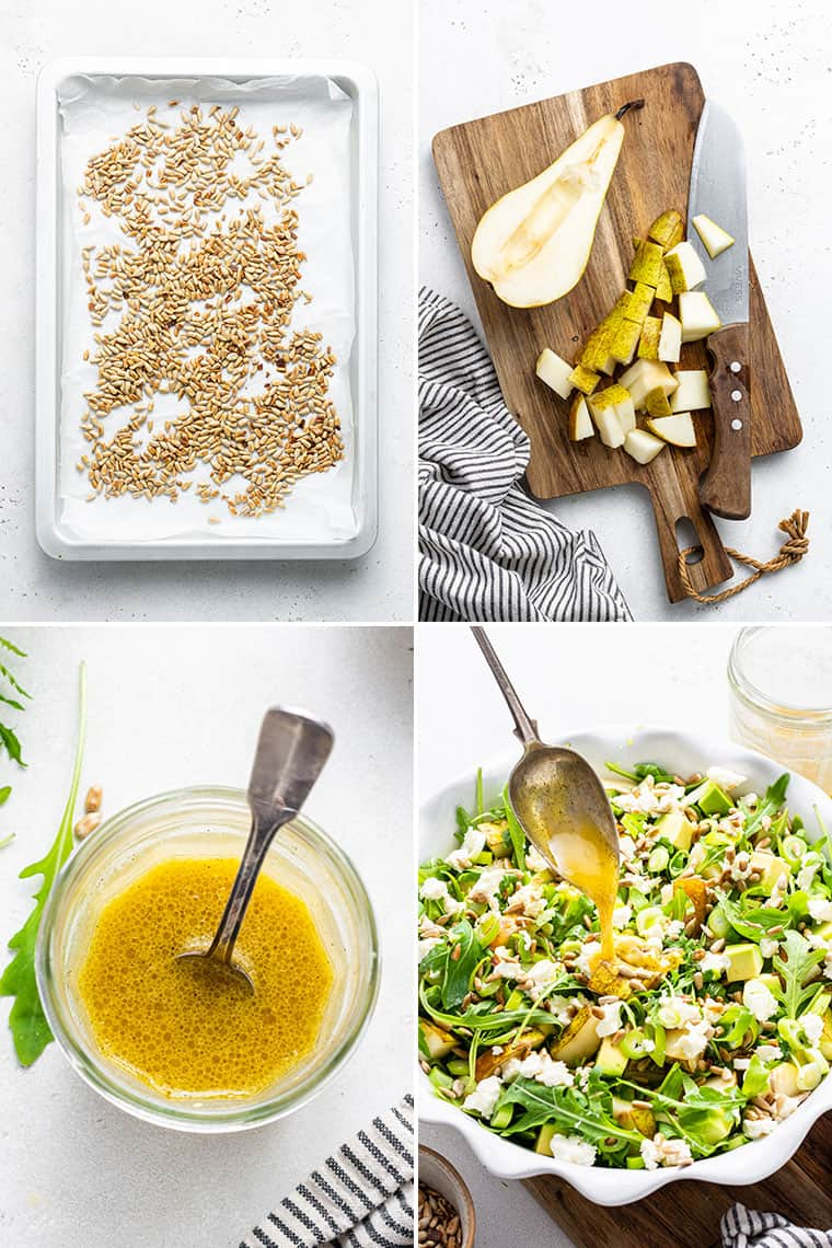 collage of the steps to make pear and arugula salad