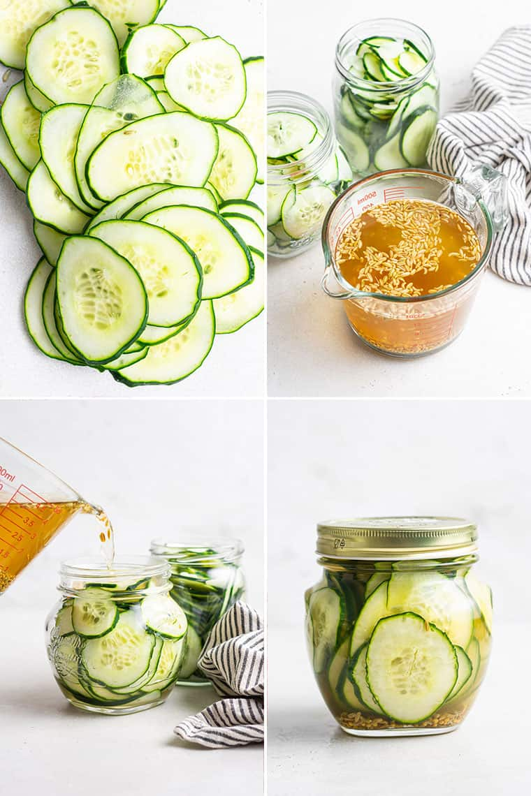 collage of the steps to make simple pickled cucumbers