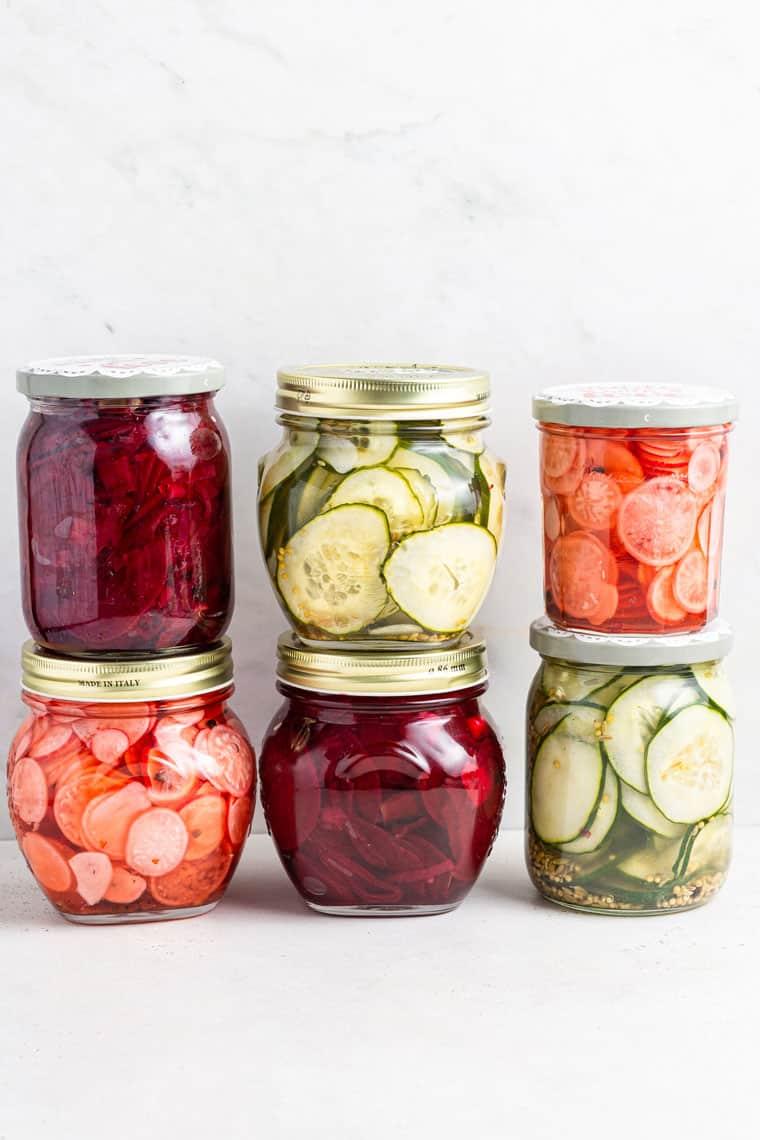 jars of pickled summer vegetables