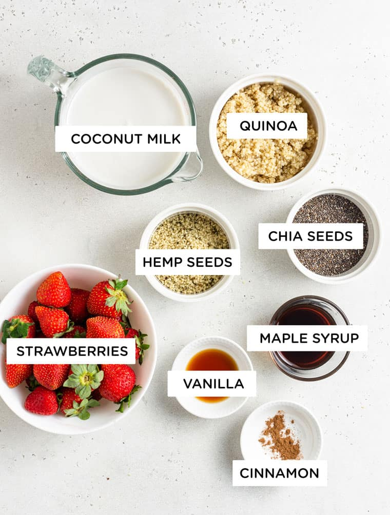 ingredients for strawberry overnight oats with hemp, chia, quinoa and maple
