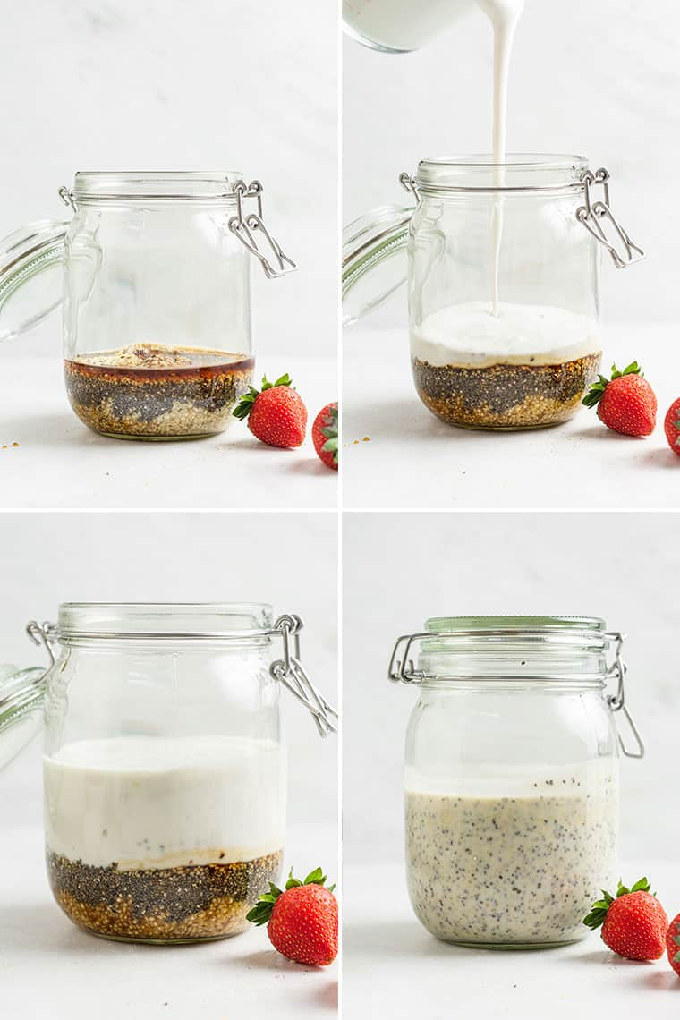 collage of the steps to make strawberry overnight oats in a glass jar