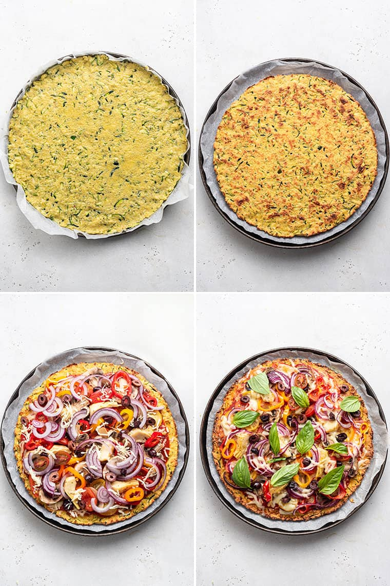 collage of the steps to cook zucchini pizza crust with veggies