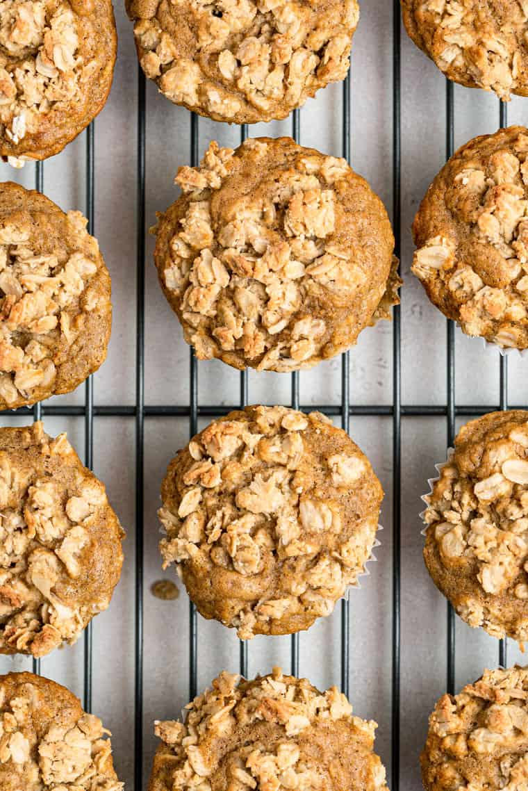 close up on baked apple crumb muffins