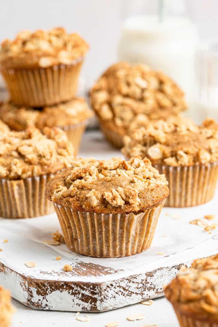 stacks of apple crumb muffins