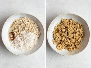 collage of mixing ingredients for muffin crumb coating