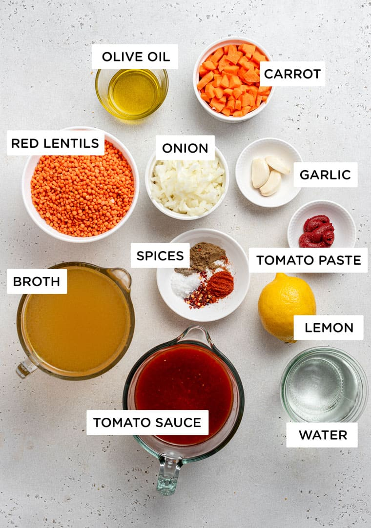 ingredients for red lentil soup with tomatoes and carrots