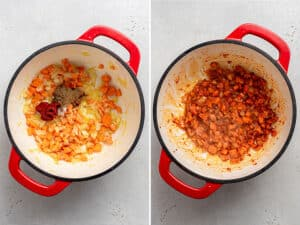 collage of adding aromatics to a pot with tomato paste and seasonings