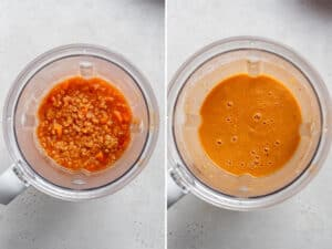 overhead of two blender containers blending ingredients for lentil soup