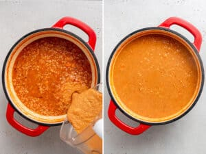 pouring blender contents into a pot of creamy red lentils soup