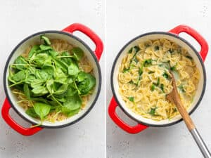 collage of a pot cooking bow tie pasta with spinach