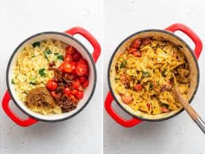 collage of stirring pesto ingredients into bowtie pasta
