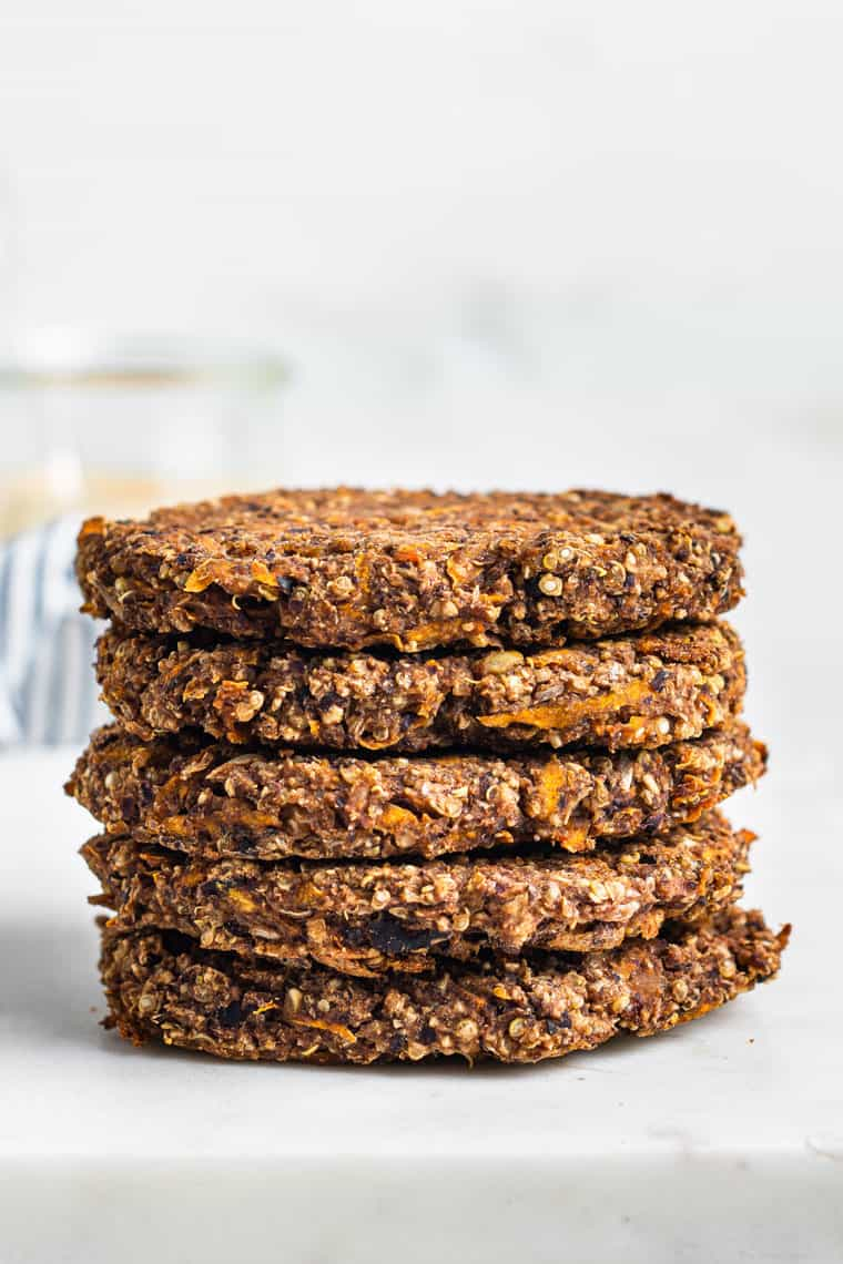 stack of cooked black bean sweet potato burgers